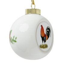 Gamecock Wheaten Rooster Ceramic Ball Christmas Ornament