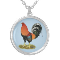 Gamecock Wheaten Rooster Silver Plated Necklace