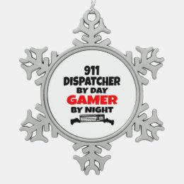Gamer 911 Dispatcher Snowflake Pewter Christmas Ornament