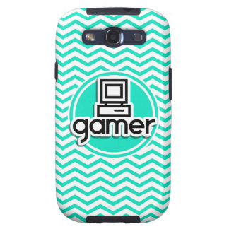 Gamer; Aqua Green Chevron Samsung Galaxy S3 Cases