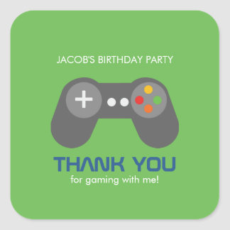 Gamer Birthday Party Square Sticker