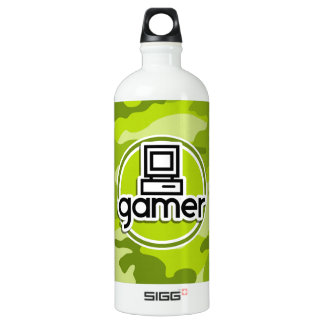 Gamer; bright green camo, camouflage aluminum water bottle
