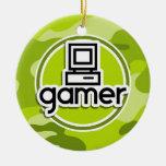 Gamer; bright green camo, camouflage ceramic ornament