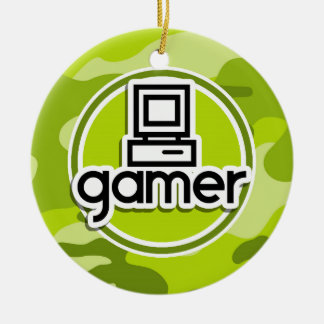 Gamer; bright green camo, camouflage Double-Sided ceramic round christmas ornament