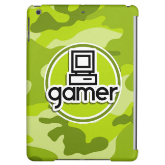 Gamer; bright green camo, camouflage iPad air cover