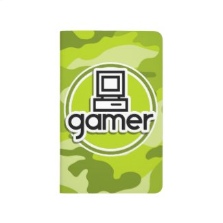 Gamer; bright green camo, camouflage journal