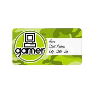 Gamer; bright green camo, camouflage custom address label