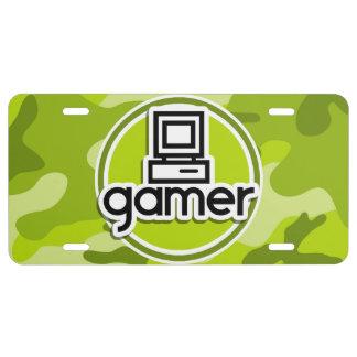 Gamer; bright green camo, camouflage license plate