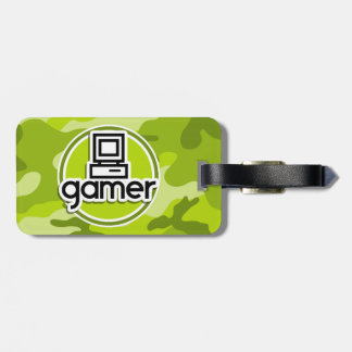 Gamer; bright green camo, camouflage luggage tag