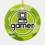 Gamer; bright green camo, camouflage christmas tree ornaments