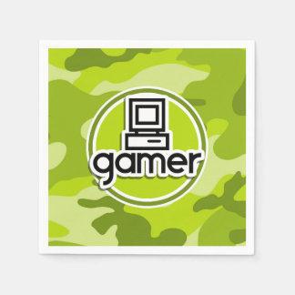 Gamer; bright green camo, camouflage paper napkins