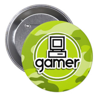 Gamer; bright green camo, camouflage pinback button