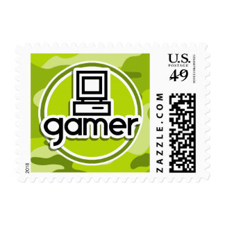 Gamer; bright green camo, camouflage postage stamp