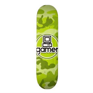Gamer; bright green camo, camouflage skateboard