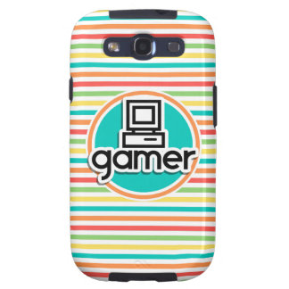 Gamer, Bright Rainbow Stripes Samsung Galaxy SIII Covers