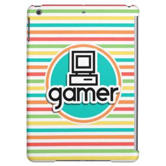 Gamer, Bright Rainbow Stripes iPad Air Cover