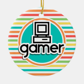 Gamer, Bright Rainbow Stripes Double-Sided Ceramic Round Christmas Ornament