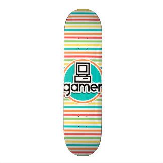 Gamer, Bright Rainbow Stripes Skate Boards