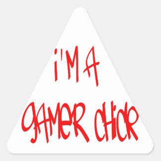 Gamer Chick Chick Triangle Stickers