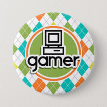 Gamer; Colorful Argyle Pattern Button