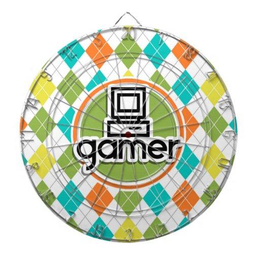 Gamer; Colorful Argyle Pattern Dartboard With Darts