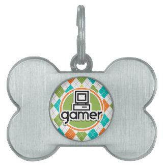 Gamer; Colorful Argyle Pattern Pet Tags