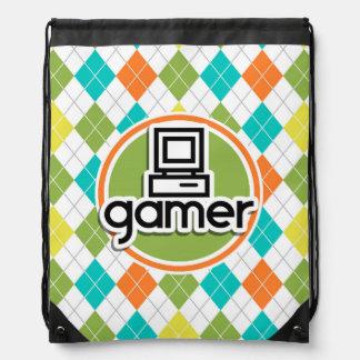 Gamer; Colorful Argyle Pattern Backpacks