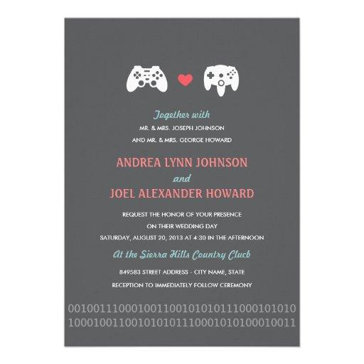 Gamer Controller Love Wedding Invites - Red & Gray