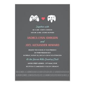 Gamer Controller Love Wedding Invites   Red U0026 Gray 5