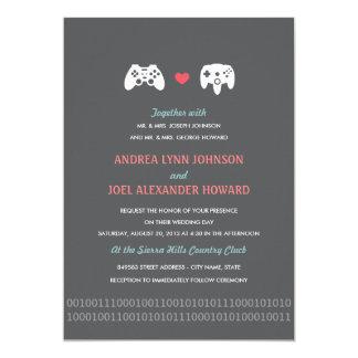 "Gamer Controller Love Wedding Invites - Red & Gray 5"" X 7"" Invitation Card"