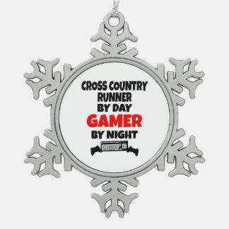 Gamer Cross Country Runner Snowflake Pewter Christmas Ornament