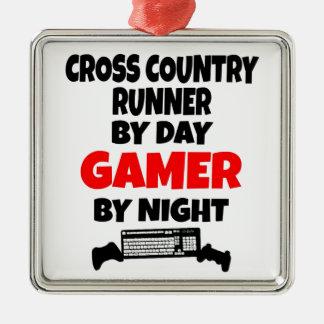 Gamer Cross Country Runner Square Metal Christmas Ornament
