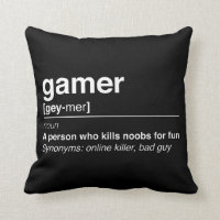 Gamer definition throw pillow
