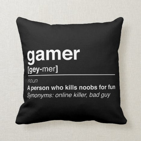 Gamer definition throw pillow