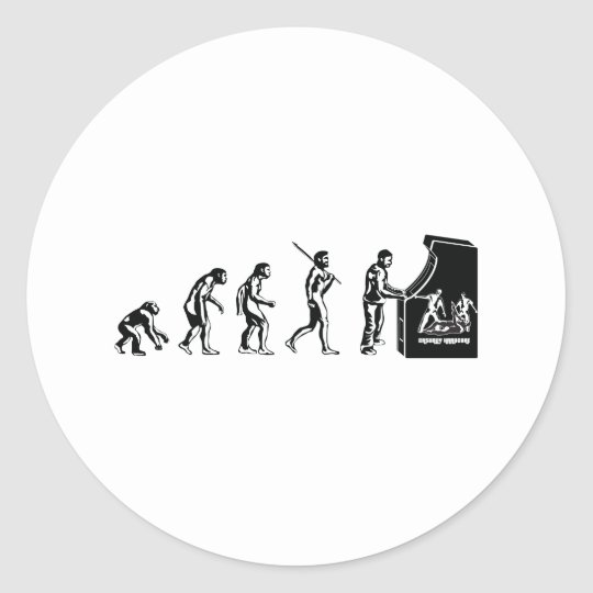 Gamer Evolution - Game Video Games Arcade Geek Classic Round Sticker