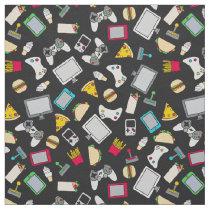 Gamer Fast Food Gaming Snacks Kids Pattern Fabric