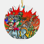 Gamer for Life Double-Sided Ceramic Round Christmas Ornament