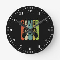 Gamer Game Controller Round Clock