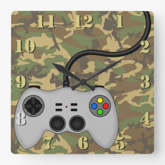 Gamer Geek Video Game Contoller on Camo Pattern Square Wall Clock