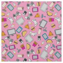Gamer Girl Fast Food Gaming Snacks Pink Fabric