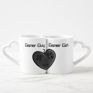 Gamer Girl & Guy Heart Shaped Controller Couples Coffee Mug