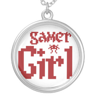 Gamer Girl Round Pendant Necklace