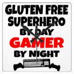 Gamer Gluten Free Superhero Square Wall Clock