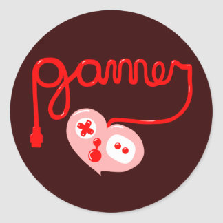 Gamer Heart Classic Round Sticker