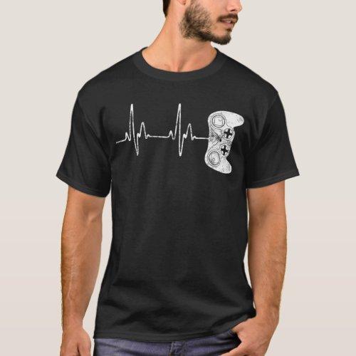 Gamer Heartbeat T_Shirt Video Game Lover Gift Shir