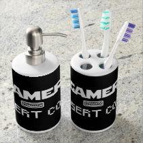 Gamer insert coin soap dispenser & toothbrush holder