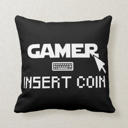 Gamer insert coin throw pillow