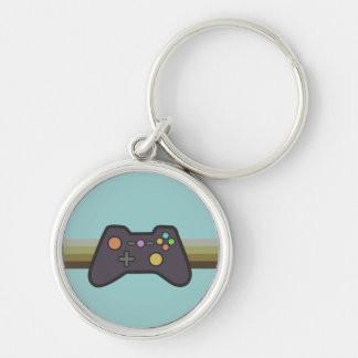 Gamer Silver-Colored Round Keychain