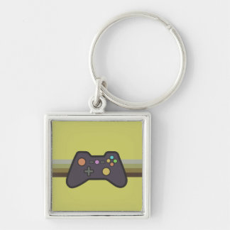 Gamer Silver-Colored Square Keychain