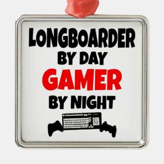 Gamer Longboarder Square Metal Christmas Ornament